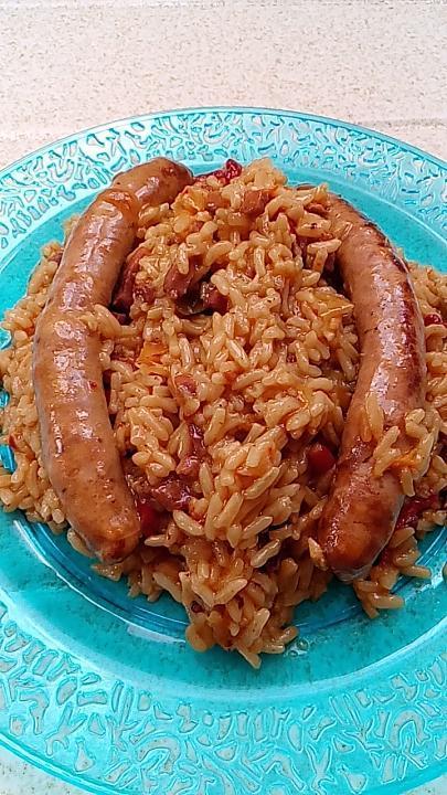 recette riz safrané saussice de volaille