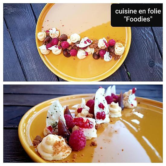 recette Tarte déstructurée au citron de sicile, crème de marron, spéculos, tuile de chocolat au thé matcha