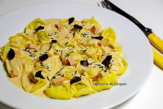recette Tortelloni à la mousse de foie de canard, ail noir et spiruline