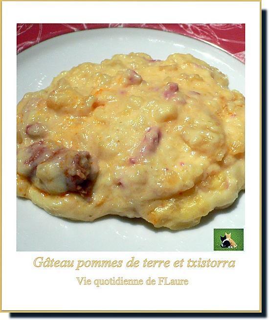 """recette Pommes de terre et txistorra dans un """"semblant"""" de gâteau"""