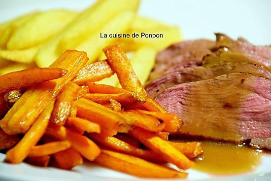 recette Magret de canard cuit à basse température, sauce grand veneur accompagné de frites de pomme de terre et carotte