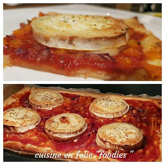 recette Tarte fine poivrons et chèvre ( recette express!..)