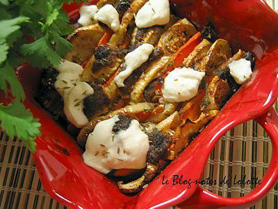 recette Tian aubergines et carottes, cumin, miel et cannelle