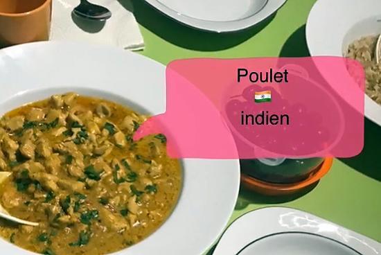 recette Poulet indien à la crème