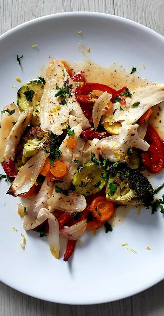 recette Filets de cabillaud rôtis aux petits légumes
