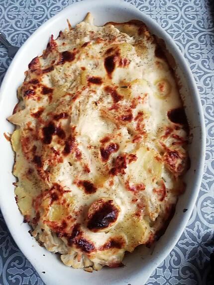 recette Gratin de choux fleur, allumettes de poulets sauce boursin