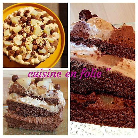 recette Gateau poire chocolat-praliné ( fondant et croustillant)