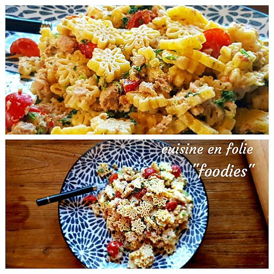 recette Salade de pâtes thon-avocat à la mayonnaise aux orties ( recette express! )
