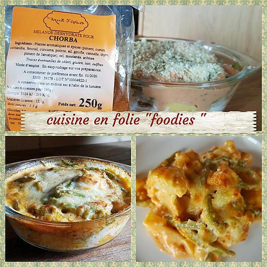 recette Gratin de pommes de terres - choux-fleurs haricots verts sauce chorba