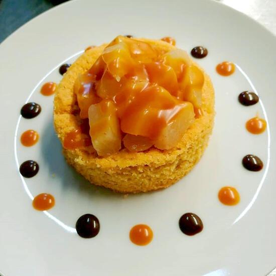recette Sablé breton et pommes confites au caramel beurre salé