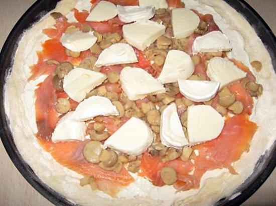 recette pizza saumon, champignon, fromage