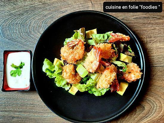 recette Salade de crevettes au panko inspirée de Cyrille lignac