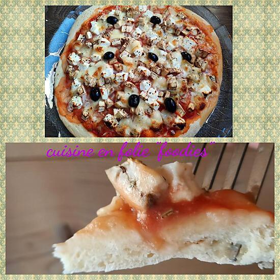 recette Pizza light aubergine et fêta
