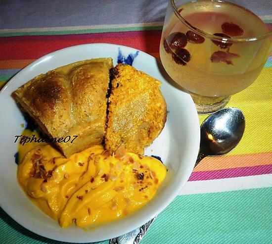 recette Gâteau potimarron (insert poire-gingembre) et sa crème à la carotte