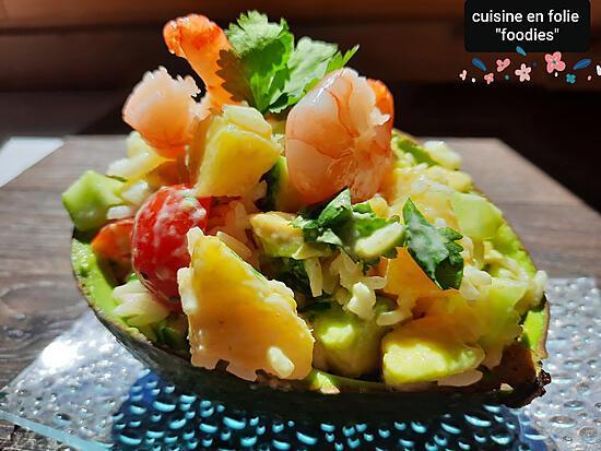 recette Salade riz avocat crevette ananas et + ( sauce légère curry curcuma)un plat sans gluten!. )