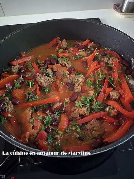recette Poivrons aux haricots rouges et viande hachée