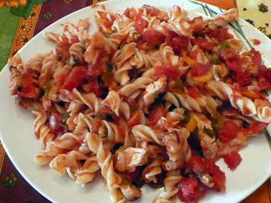 recette de pates au poulet et poivrons