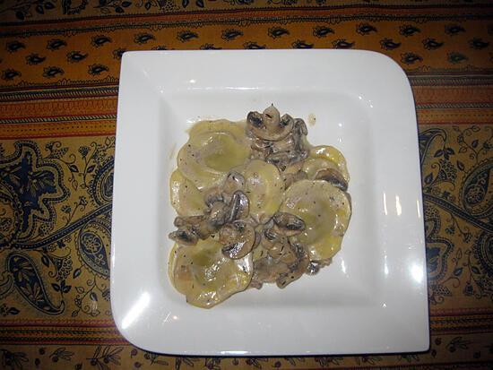 recette Pâtes aux champignons et moutarde à l'ancienne