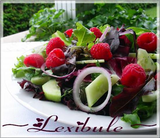 recette de salade aux framboises et l 39 oignon rouge. Black Bedroom Furniture Sets. Home Design Ideas