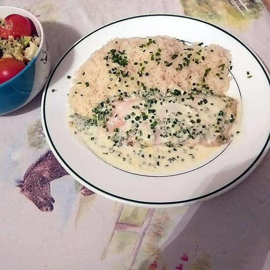 recette Filets de saumon à la crème ciboulette