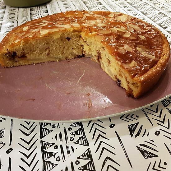 recette Gâteau moelleux aux poires  au chocolat et aux amandes