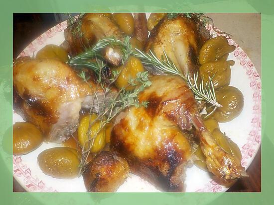 recette Canette roti aux figues séches, au thym et au romarin