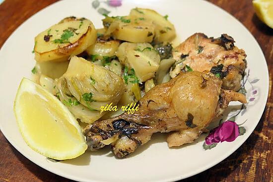 recette Batata fel koucha- Pommes de terre au fenouil au poulet-Cuisson au four