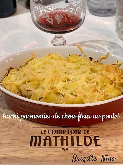 recette HACHIS PARMENTIER DE CHOU-FLEUR au POULET
