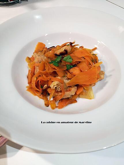 recette Tagliatelles de carottes à la dinde