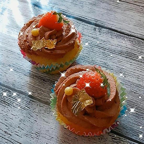 recette Cupcakes fourrée a la fraise chantilly chocolat