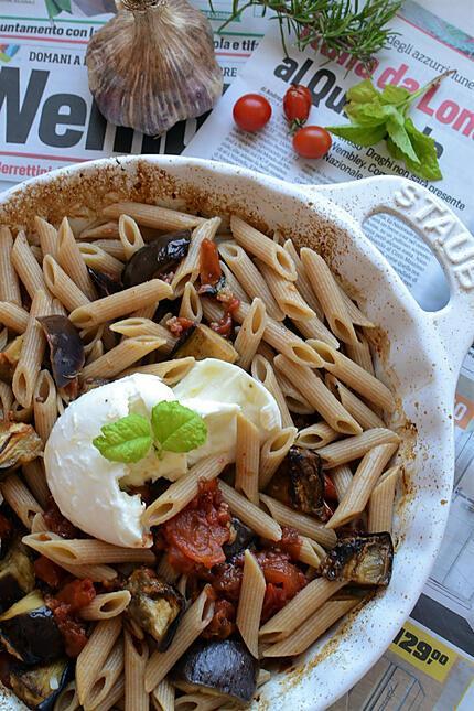 recette Pâtes tomates aubergine rôtis au  four