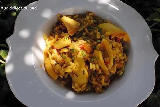 recette Risotto aux blancs  de seiche et poivrons .