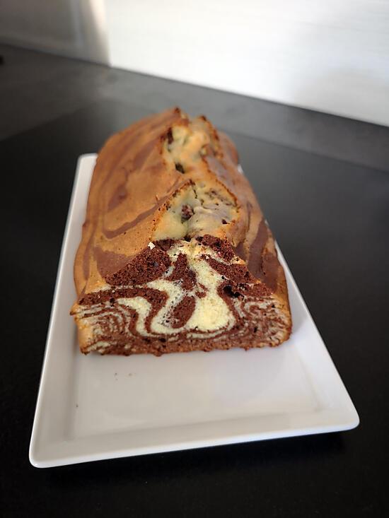 recette cake marbré au chocolat noir et chocolat blanc