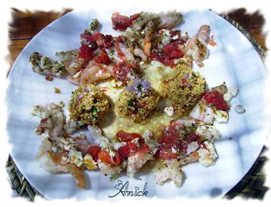 recette duo langoustines et crevettes à la feta et origan
