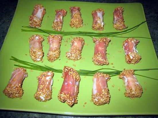 recette enroulés de chèvre frais au jambon cru et sésame