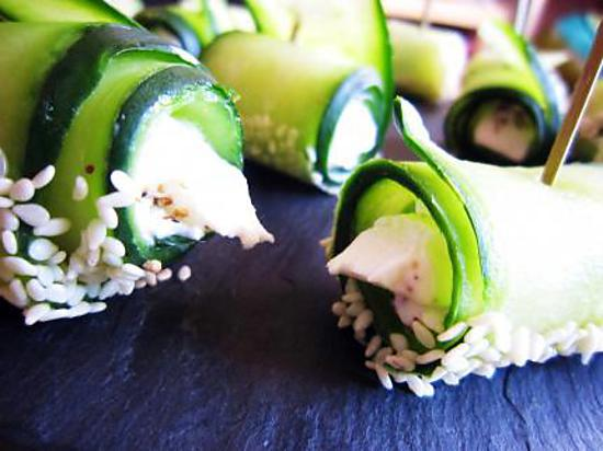 recette Sushis de concombre au chèvre