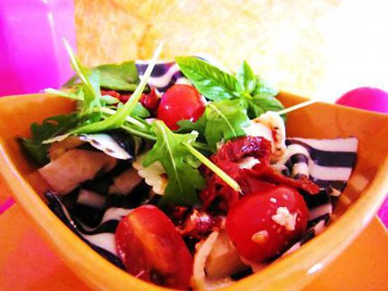 Recette de Salade de pâtes tomates et mozzarella