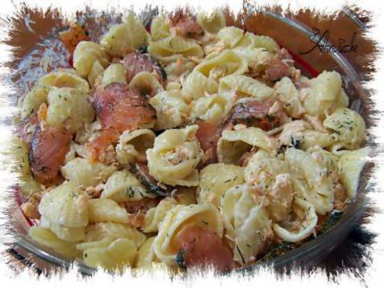 recette conchiglioni ( pâtes gros coquillages ) aux deux saumons , sauce  aneth et zeste de citron