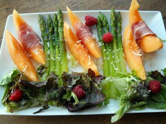 recette de salade de melon et asperges vertes la framboise. Black Bedroom Furniture Sets. Home Design Ideas