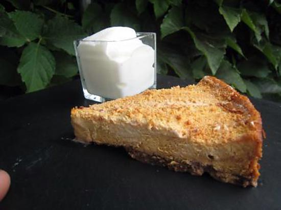 recette Cheesecake au caramel et son espumas d'amande amère