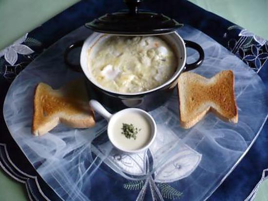 recette Oeufs cocotte raclette/bleu