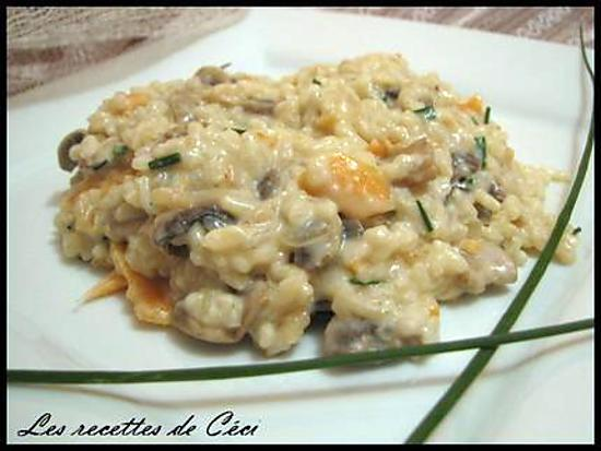 recette de risotto au saumon fum et champignons. Black Bedroom Furniture Sets. Home Design Ideas
