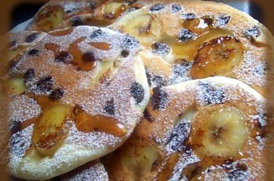 recette pancake au babeurre banane et au pepites de chocolat
