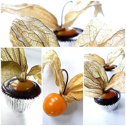 recette PETITES BOUCHEES D'AMOUR EN CAGE AU CHOCOLAT (PHYSALIS)