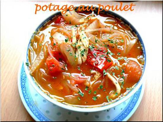 recette potage poulet, vermicelle chinois