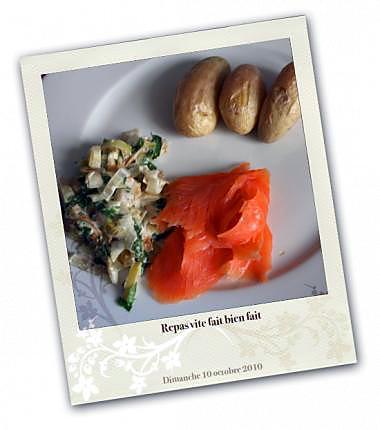 recette poireaux à la crème, saumon fumé et petites pommes de terre