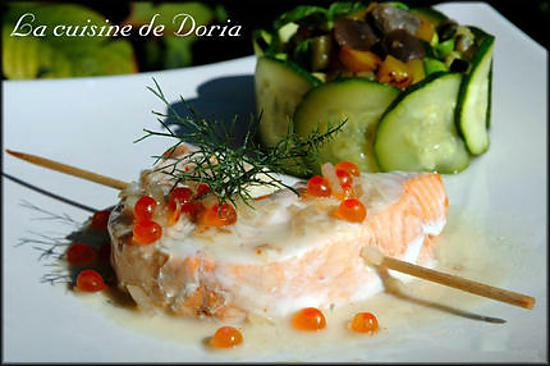 recette Roulade de saumon et coquille saint-Jacques avec sa jardinière de légumes et pleurotes