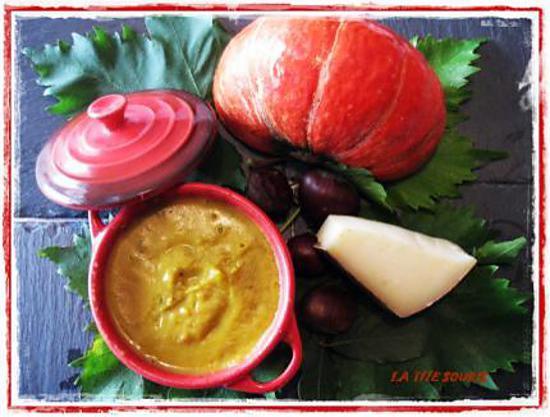 recette Soupe de potimarron et chataignes gratinée au comté