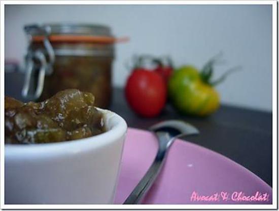 """recette ** Chutney de pomme & tomate verte """"green zebra"""" au gingembre légèrement pimenté **"""