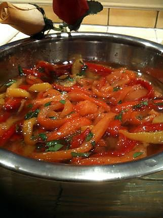 recette POIVRONS  GRILLES  A  L'HUILE  D'OLIVE